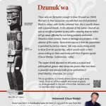 A plaque containing information about Dzunuk'wa Totem