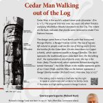 A plaque containing information about Cedar Man Walking out of the Log Totem