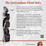 A plaque containing information about The Gaw'yasdams Flood Story Totem
