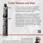 A plaque containing information about Cedar Woman and Man Totem