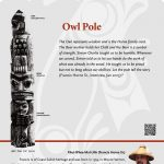 A plaque containing information about Owl Pole Totem