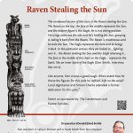 A plaque containing information about Raven Stealing the Sun Totem