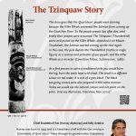 A plaque containing information about The Tzinquaw Story Totem