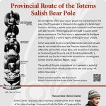 A plaque containing information about Provincial Route of the Totems Salish Bear Pole Totem
