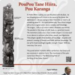 A plaque containing information about PouPou Tane Hiira, Pou Karanga Totem