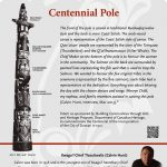 A plaque containing information about Centennial Pole Totem