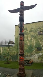 A pole depicting four figures: Thunderbird, Killer Whale, Human, and Bear explaining the relationship between the Bear figure and the Human figure